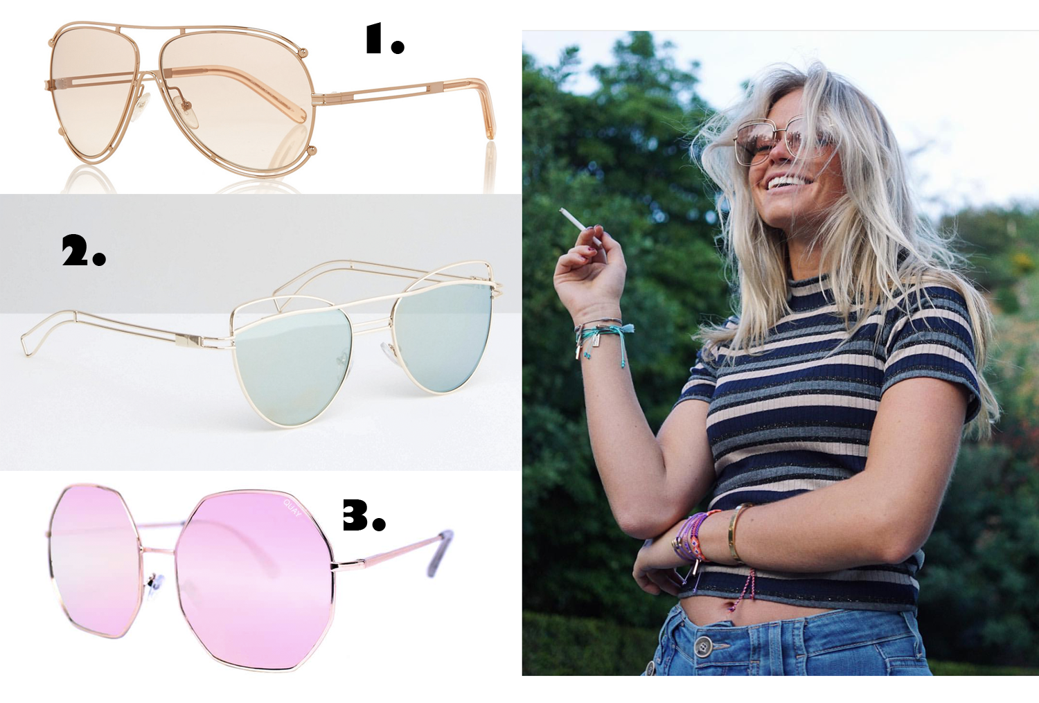 3 Goodies: Colored lens sunglasses