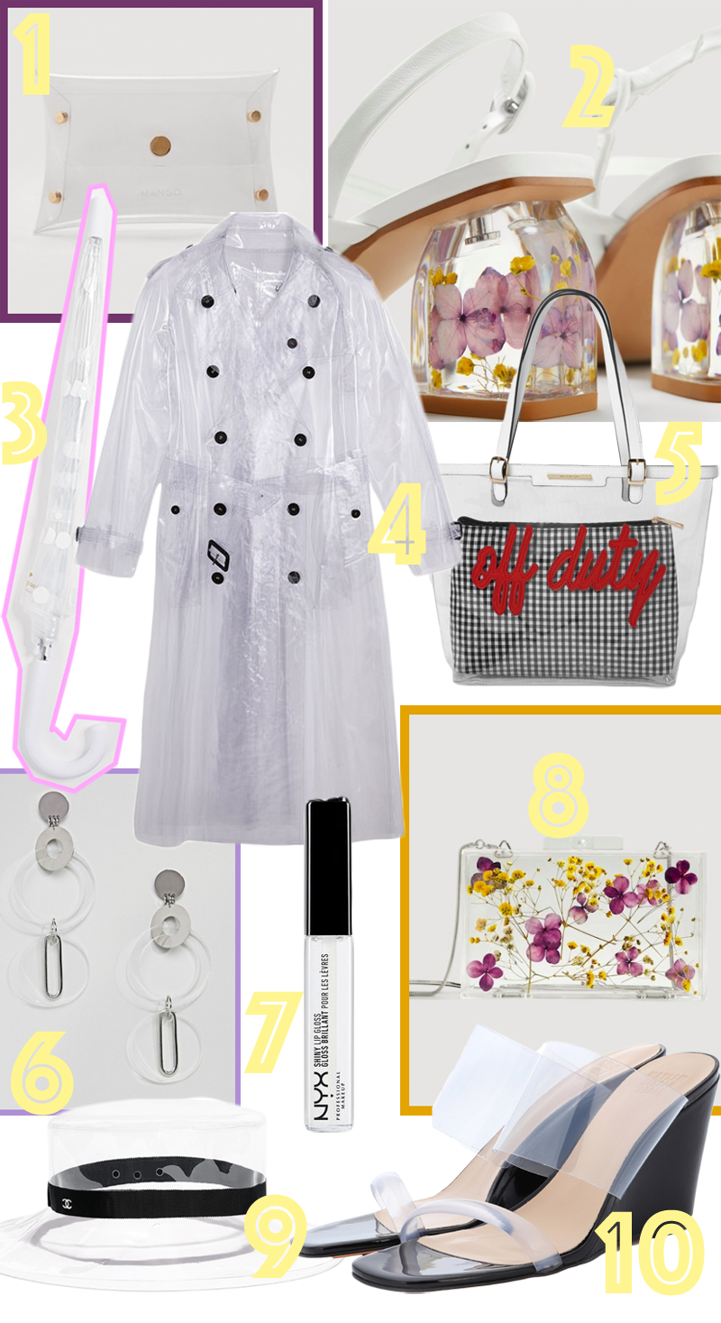 e937eda1 1. clutch MANGO | 2. sandals MANGO | 3. umbrella KATE SPADE | | 4.  trenchcoat BURBERRY | 5. bag RIVER ISLAND | | 6. earrings ASOS | 7.  lipgloss NYX | 8. bag ...
