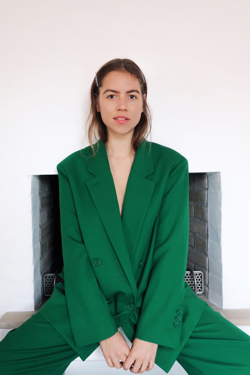A green suit